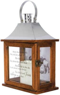 Away in a Manger Photo LED Flameless Lantern  -
