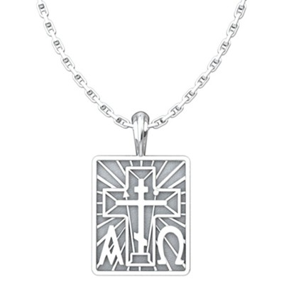 Alpha Omega with St. Andrew Cross Pendant, Sterling Silver, with 18 inch Sterling Silver Chain  -