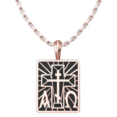 Alpha Omega with St. Andrew Cross Pendant, Rose Gold Plated Sterling Silver, with 18 inch Sterling Silver Chain  -