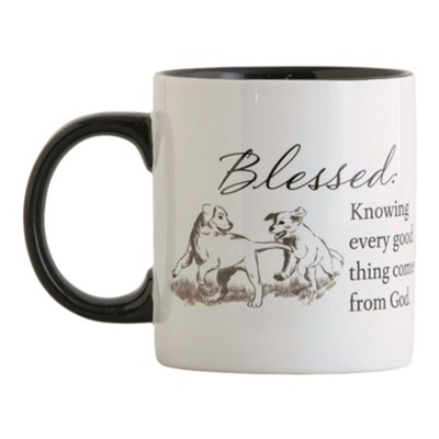 Blessed, Knowing Every Good Thing Comes From God, Puppies Ceramic Mug  -