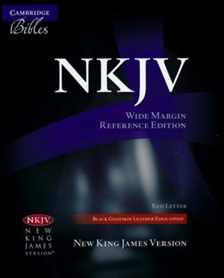 NKJV Wide-Margin Reference Bible--goatskin leather, black  -