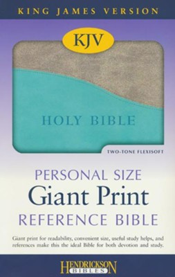 KJV Personal Size Giant Print Reference Bible, imitation  leather, turquoise/gray  -