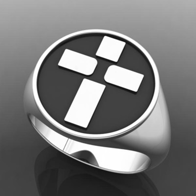 Men's Cross Ring, Sterling Silver, Size 8  -