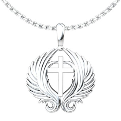 Angel Wings, Cross Pendant, Sterling Silver  -