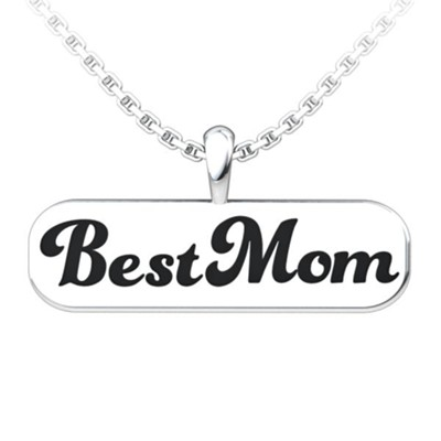 Best Mom Pendant, Sterling Silver  -