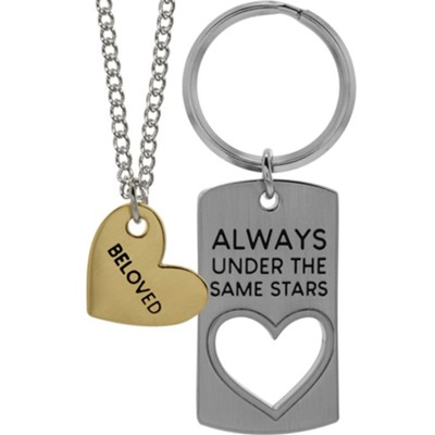 Always Under the Same Stars Keyring, Beloved Heart Pendant  -