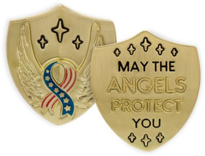 May the Angels Protect You, Stars and Stripes Ribbon, Shield Token, Gold  -