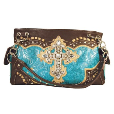 Cross Purse, Turquoise and Brown  -