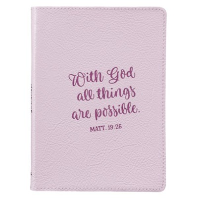 With God All Things Are Possible Handy-Sized Journal, Genuine Leather, Purple  -