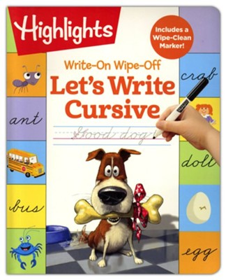 Write-On Wipe-Off Let's Write Cursive  -