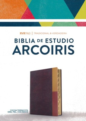 RVR 1960 Biblia de Estudio Arcoiris, gris pizarra/oliva s&#237mil piel con &#237ndice (RVR 1960 Rainbow Study Bible--soft leather-look, cocoa/terracotta (indexed))  -     Edited By: B&H Espa&#241ol Editorial Staff