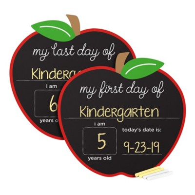 First and Last Days Chalkboard Sign, Apple Shaped  -