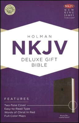 NKJV Deluxe Gift Bible, Brown LeatherTouch  -