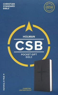 CSB Pocket Gift Bible, Charcoal LeatherTouch  -