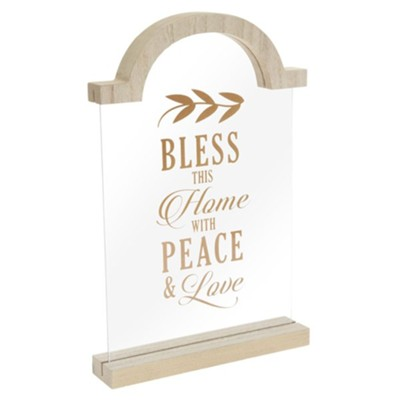 Bless This Home With Peace and Love Tabletop Plaque  -