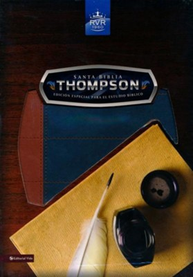 Santa Biblia Thompson RVR 1960, Piel Fabricada, Azul/ Marron (Thompson Imitation Leather Blue/Brown)  -