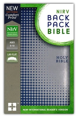 NIrV Backpack Bible--soft leather-look, blue/silver  -