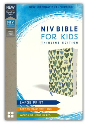 NIV Comfort Print Bible for Kids, Large Print, Cloth over Board, Turquoise Hearts  -