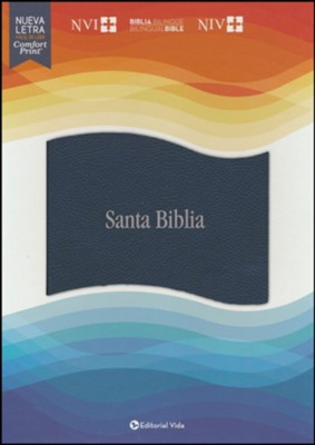 NVI/NIV Bilingual Bible--soft leather-look, blue (indexed)  -