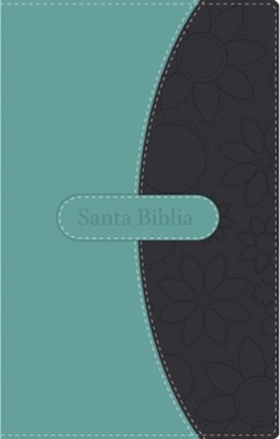 NVI Thinline Bible--soft leather-look, teal/gray  -