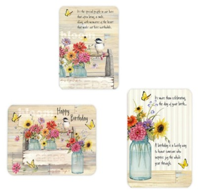 Blooms, Birthday Cards, Box of 12  -     By: Sandy Clough