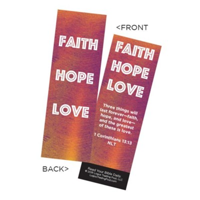 Faith Hope Love Bookmarks, Pack of 25  -