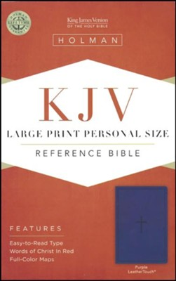 KJV Large Print Personal Size Reference Bible, Purple Leathertouch with Cross  -
