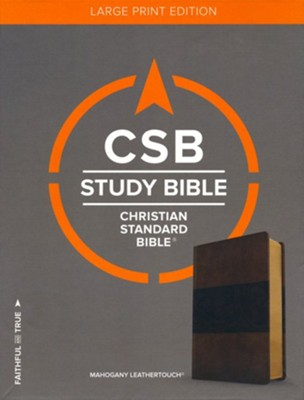 CSB Study Bible, Large Print Edition, Mahogany LeatherTouch  -