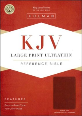 KJV Large Print Ultrathin Reference Bible, British Tan LeatherTouch, Black Letter Edition, Thumb-Indexed  -