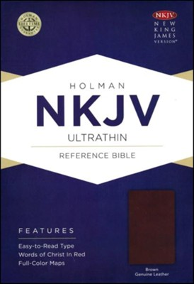 NKJV Ultrathin Reference Bible, Brown Genuine Leather  -