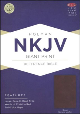 NKJV Giant Print Reference Bible, Brown Genuine Leather  -
