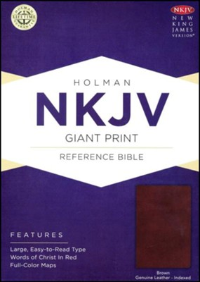 NKJV Giant Print Reference Bible, Brown Genuine Leather, Thumb-Indexed  -