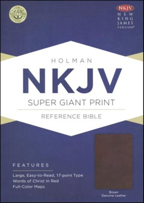 NKJV Super Giant Print Reference Bible, Brown Genuine Leather  -