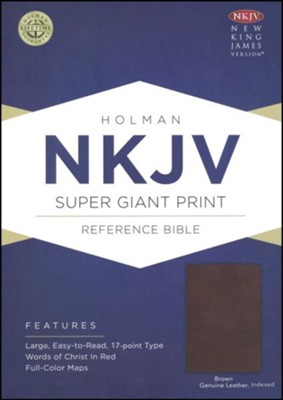 NKJV Super Giant Print Reference Bible, Brown Genuine Leather, Thumb-Indexed  -