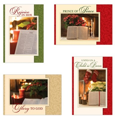 Bible And Poinsettia Christmas Cards, Box of 12  -