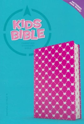 CSB Kids Bible--soft leather-look, pink with shiny hearts  -