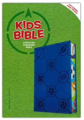 CSB Kids Bible--soft leather-look, blue with sports balls  -