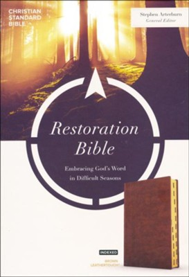 CSB Restoration Bible--soft leather-look, brown (indexed)   -     By: Stephen Arterburn