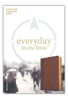 CSB Everyday Study Bible--soft leather-look, British tan  -