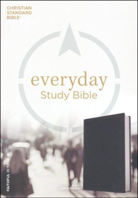 CSB Everyday Study Bible--soft leather-look, charcoal  -