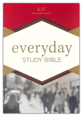 KJV Everyday Study Bible--soft leather-look, British tan  -