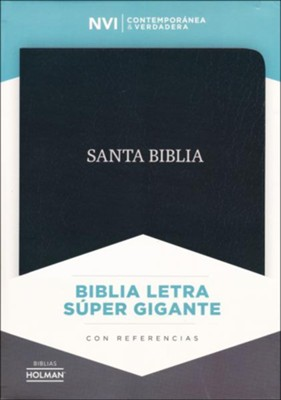 Biblia NVI Letra Super Gigante, Piel Fab. Negro  (NVI Super Giant Print Bible, Bon. Leather, Black)  -