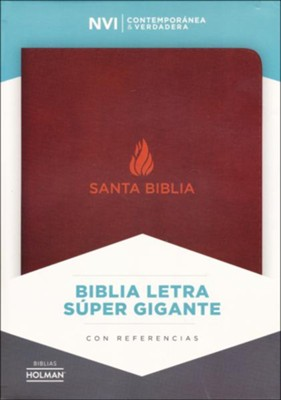 Biblia NVI Letra Super Gigante, Piel Fab. Marron, Ind.  (NVI Super Giant Print Bible, Bon. Leather, Brown, Ind.)  -
