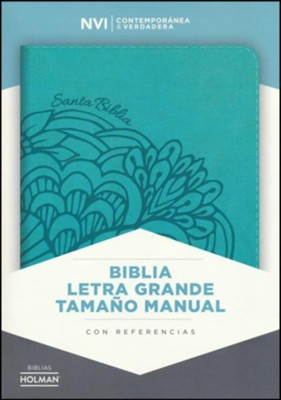Biblia NVI Letra Grande Tam. Manual, Piel Imit. Aqua  (NVI Large Print Handy-Size Bible, Aqua Imit. Leather)  -