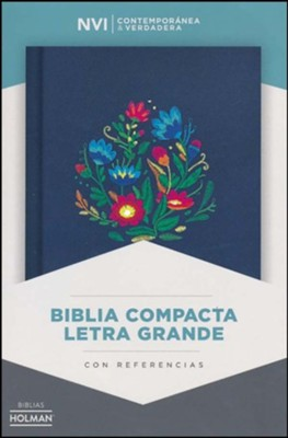 NVI Biblia Compacta Letra Grande, bordado sobre tela, Cloth over board  -