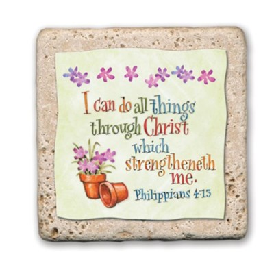 I Can Do All Things Through Christ Sentiment Tile  -