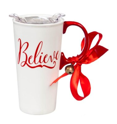 Believe, Travel Mug with Box, Red & White  -