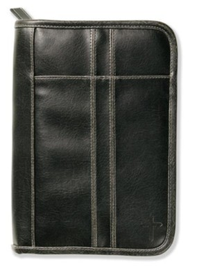 Distressed Leather Look Bible Cover, Black, Large   -