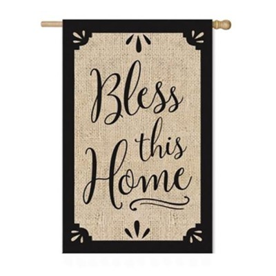 Bless This Home Burlap Flag, Large  -