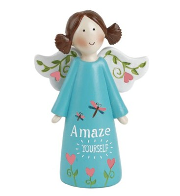 Amaze Yourself Angel Holding Flowers, Blue  -     By: Suzi Skoglund